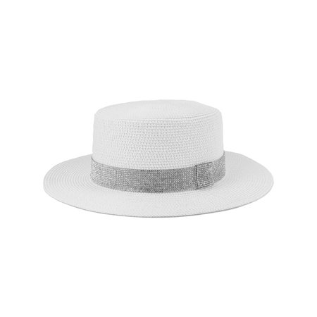 Top Headwear Paper Braid Top hat w/ Stone Strip (Stone Strip)