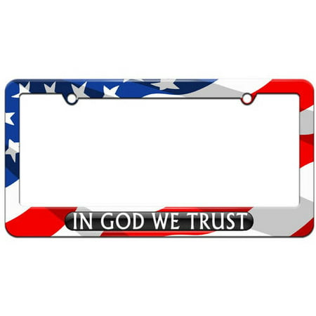 In God We Trust Black, USA License Plate Tag Frame, Multiple Colors ()