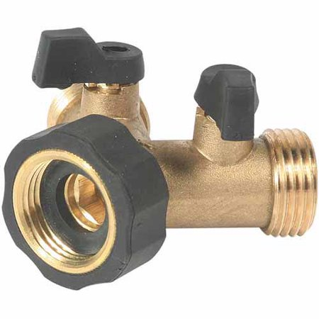 Easy Grip Handle (Camco Stainless Steel Solid Brass Water Wye Valve- Easy Grip Valve Handles and Simple Water Hose Connection CSA Low Lead Certified -)