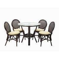 Denver Dining Set of 4 Natural Rattan Wicker Side Chairs w/Cream Cushion and Dining Round Table Glass Top, Dark Brown