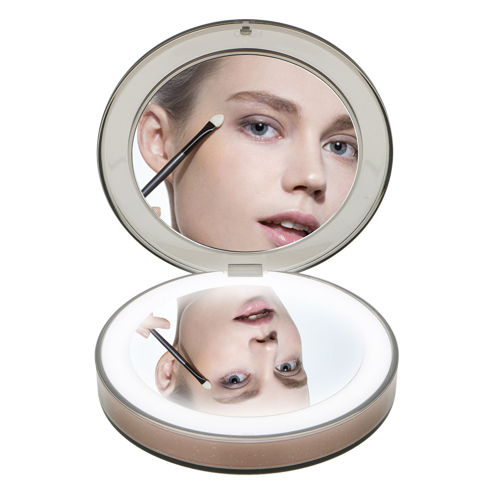 LED Lighted Travel Makeup Mirror, Round 1x/3x Magnification Folding Portable Compact Pocket Mirror with LED Lights Lamps USB Chargeable for Beauty Cosmetic Camping