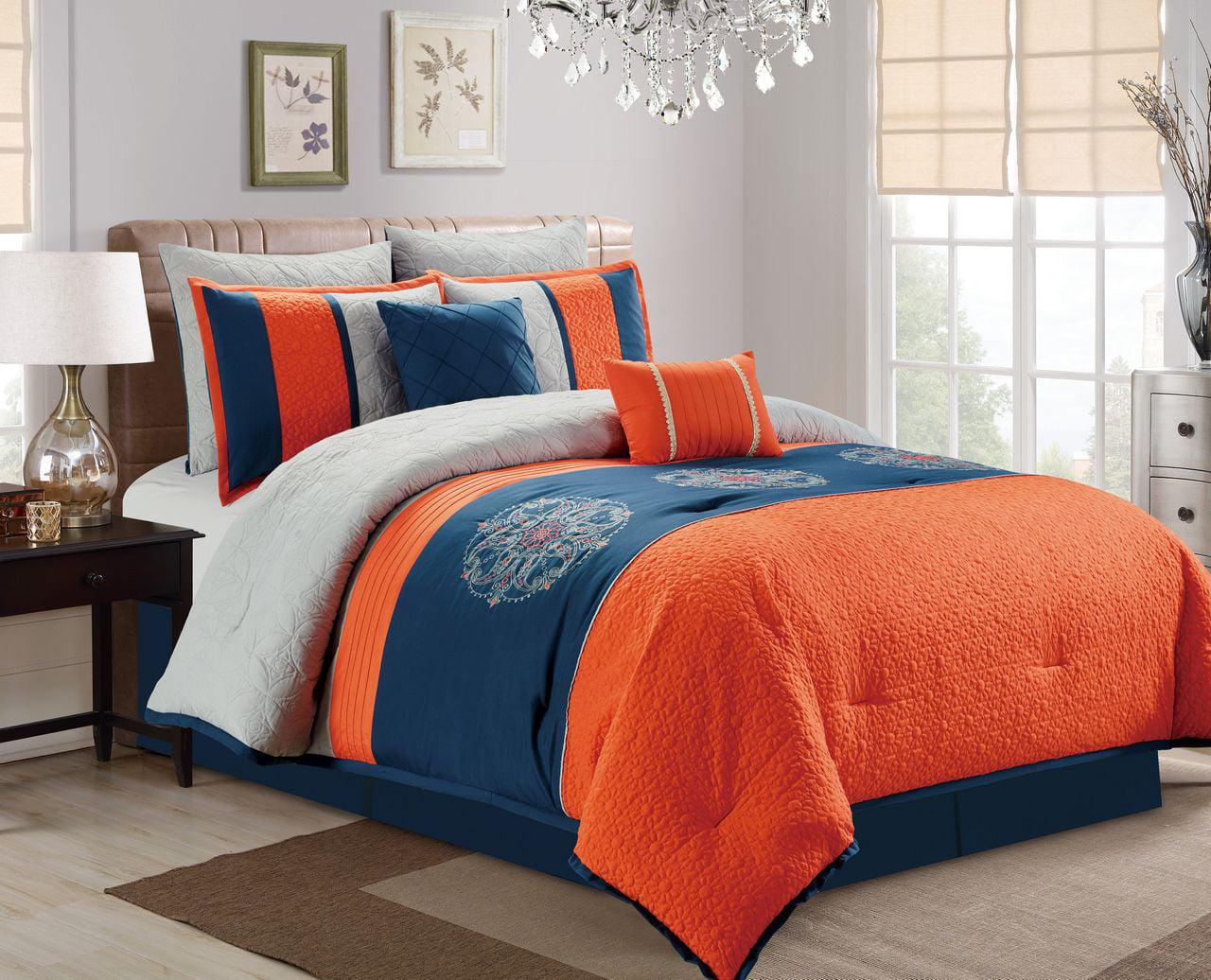 Piece Embroidered Paisley Navy Orange