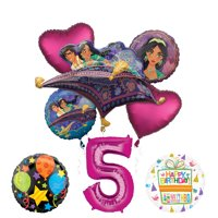 Mayflower Products Aladdin 5th Birthday Party Supplies Princess Jasmine Balloon Bouquet Decorations - Pink Number 5