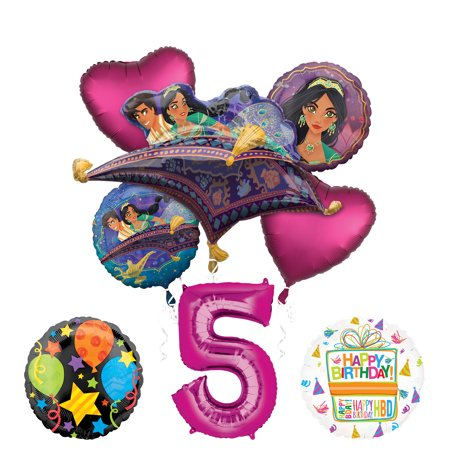 Mayflower Products Aladdin 5th Birthday Party Supplies Princess Jasmine Balloon Bouquet Decorations - Pink Number - Jasmine Birthday Party Supplies
