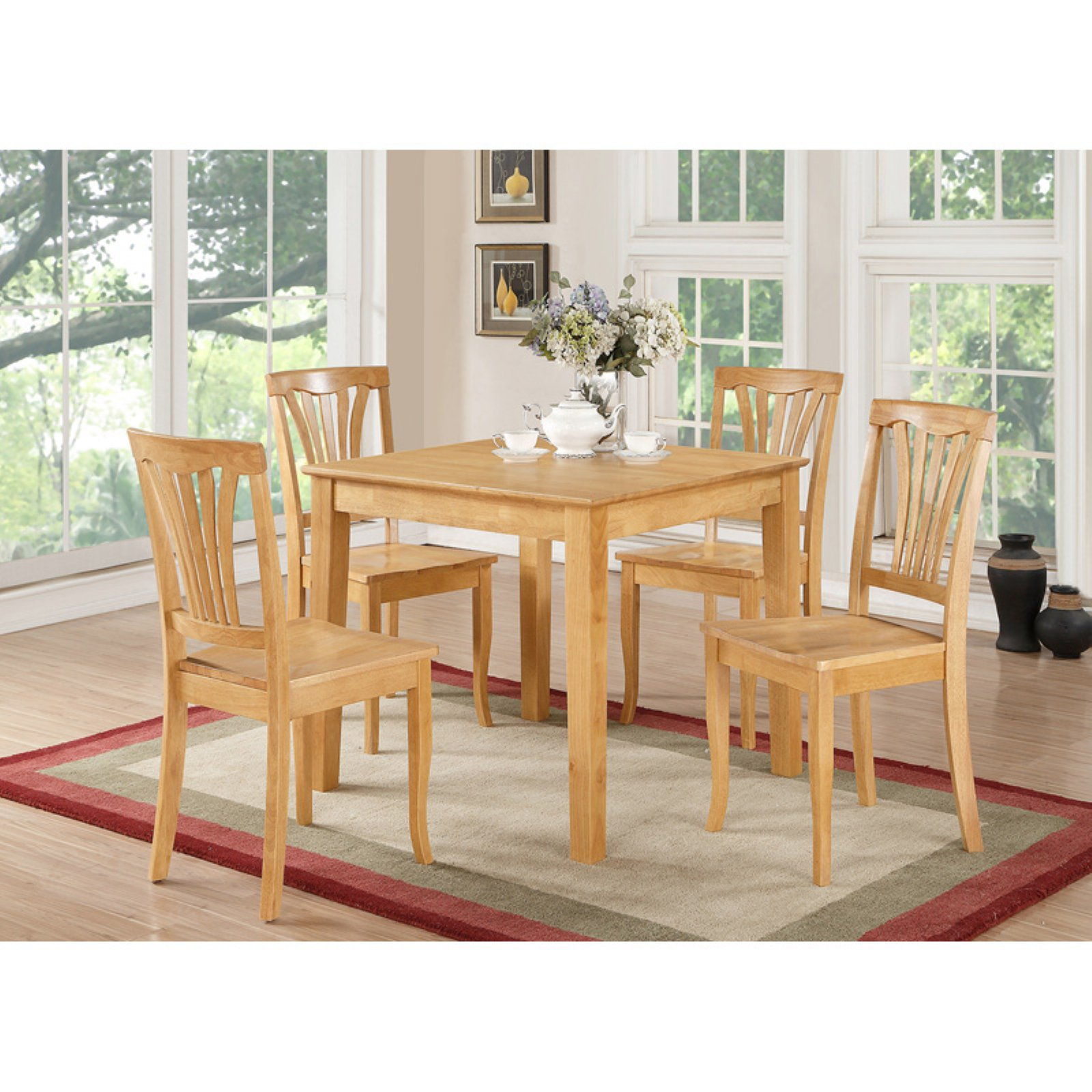 East West Furniture 5 Piece Lath Back Breakfast Nook Dining Table Set