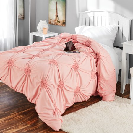 Mainstays Solid Elastic Circle Ruched Microfiber Comforter, Blush, Twin/Twin Xl