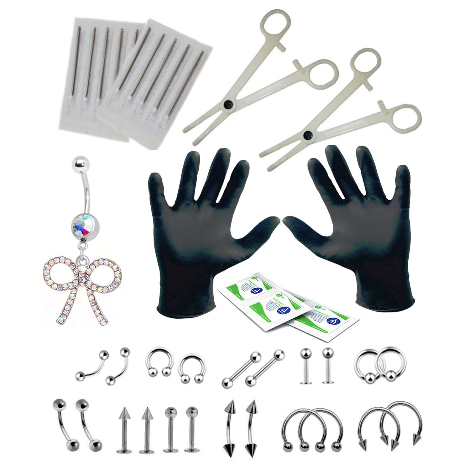 BodyJ4You Body Piercing Kit Bow Belly Rings Tongue Tragus Eyebrow Lip Nose 36 Pieces
