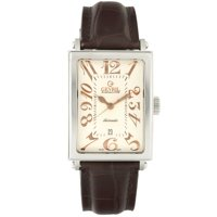 Gevril Avenue of Americas Mens Swiss Automatic Rectangle Brown Leather Strap Watch