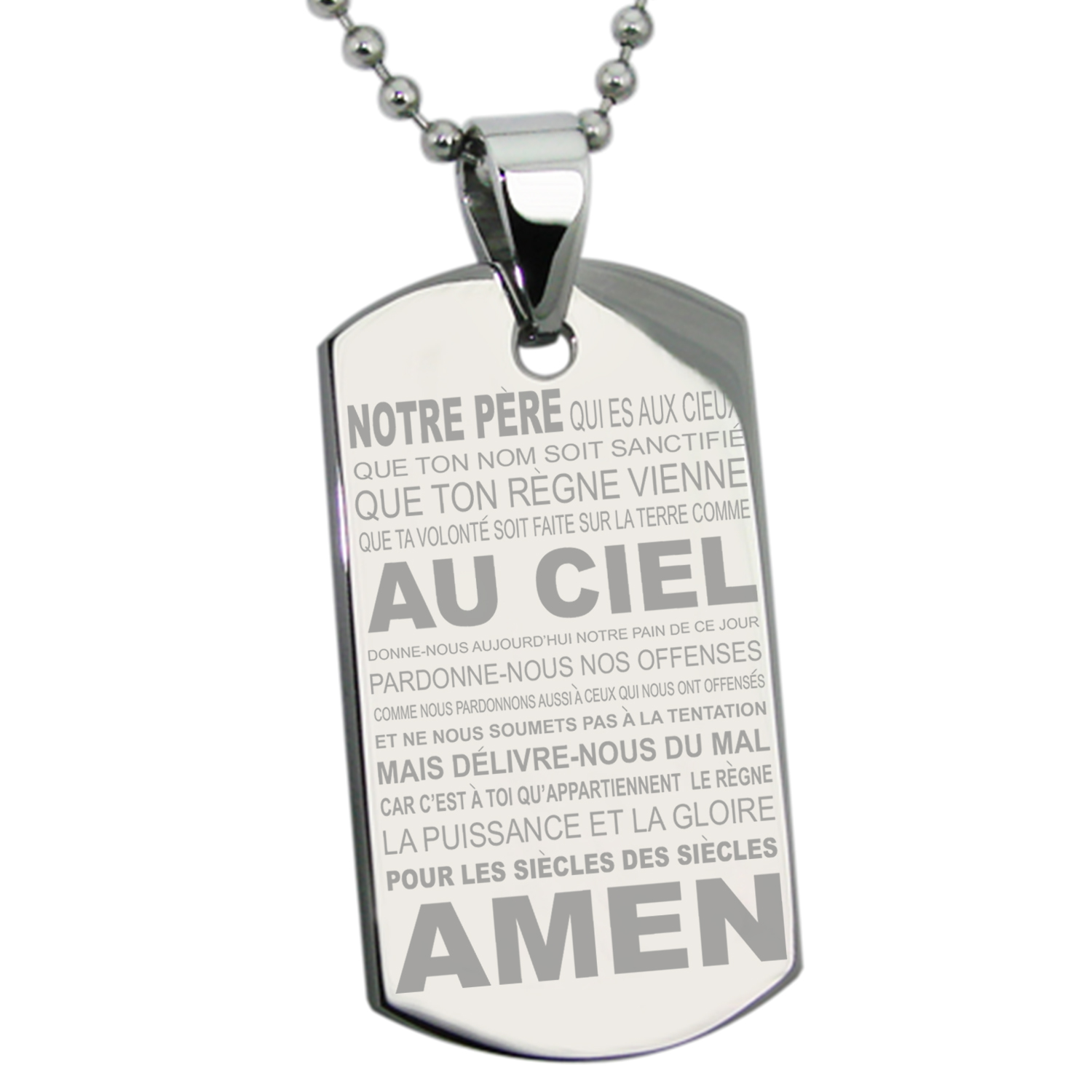 Stainless Steel Lord's Prayer French Translated Engraved Dog Tag Pendant