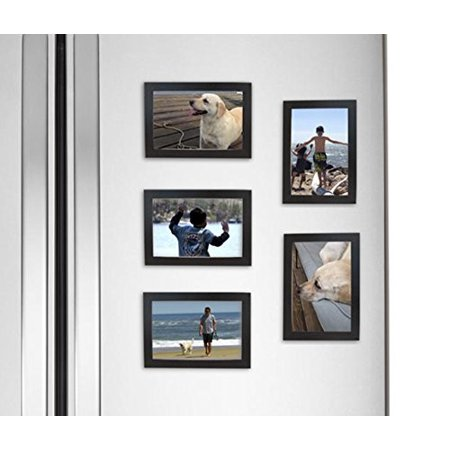 Fridgepic Wood Magnetic Photo Picture Frames Black Set Of 5 4x6