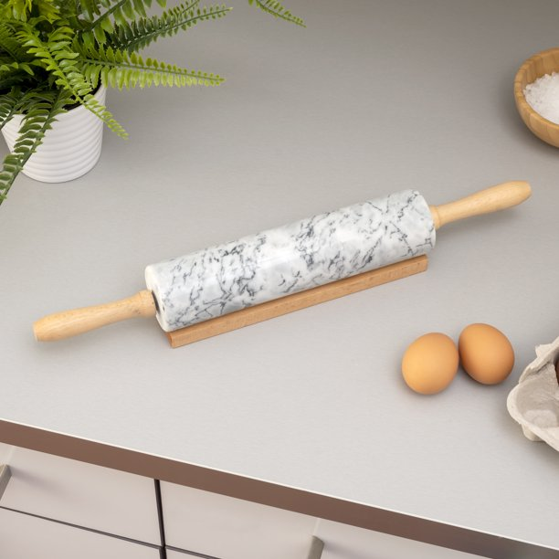 Hbmarble Rolling Pin With Easy Grip Handles And Display