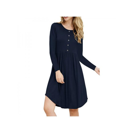c63dff1ddd11 Nicesee - Nicesee Women's A-line Dresses Long Sleeve Casual Button ...
