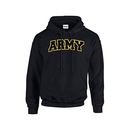 Army Embroidered Applique Adult Hooded Sweatshirt