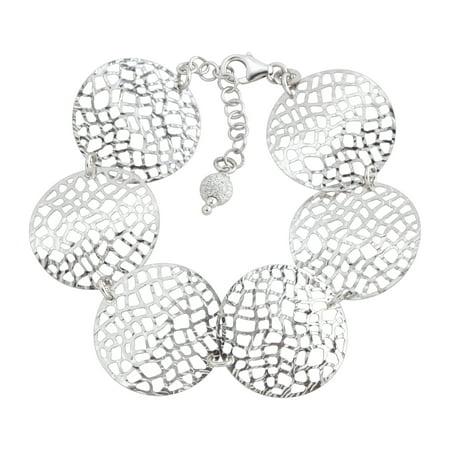 Silver Circular Bracelets - Circular Textured Mesh Link Bracelet in Sterling Silver