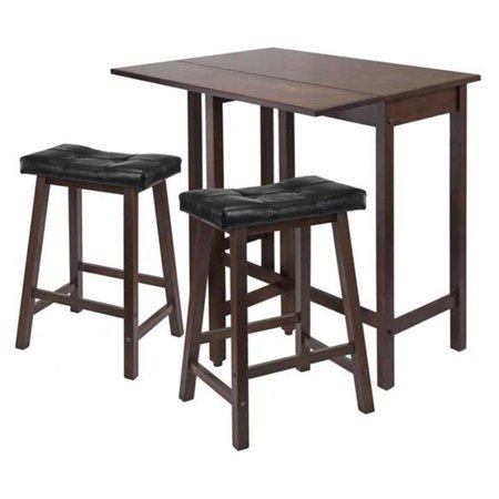 3pc Lynnwood Drop Leaf Kitchen Table with 2 Cushion Saddle Seat (2 Drop Leaves)