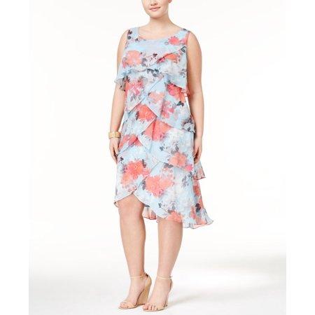 SL Fashions Plus Size Tiered Floral-Print Sheath Dress (Floral-Print Blue  Multi, 14 Plus)
