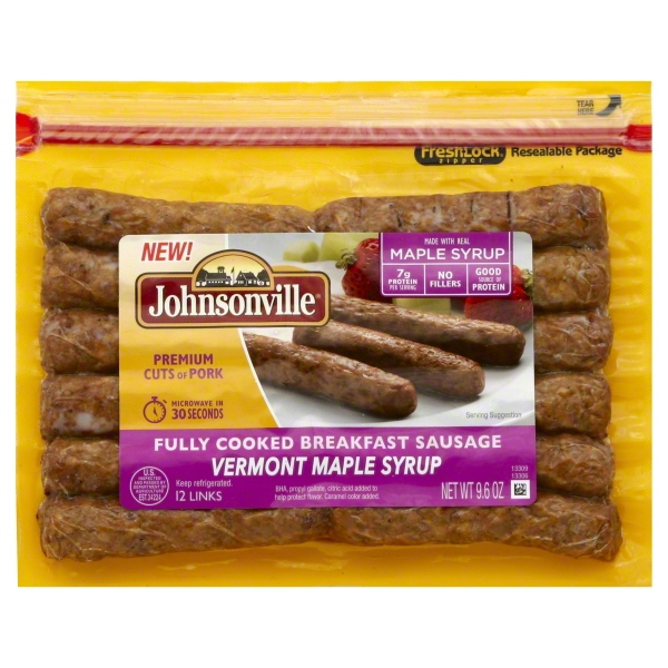 Johnsonville Vermont Maple Syrup Fully Cooked Breakfast Sausage 12 links 9.6oz pkg (101795)