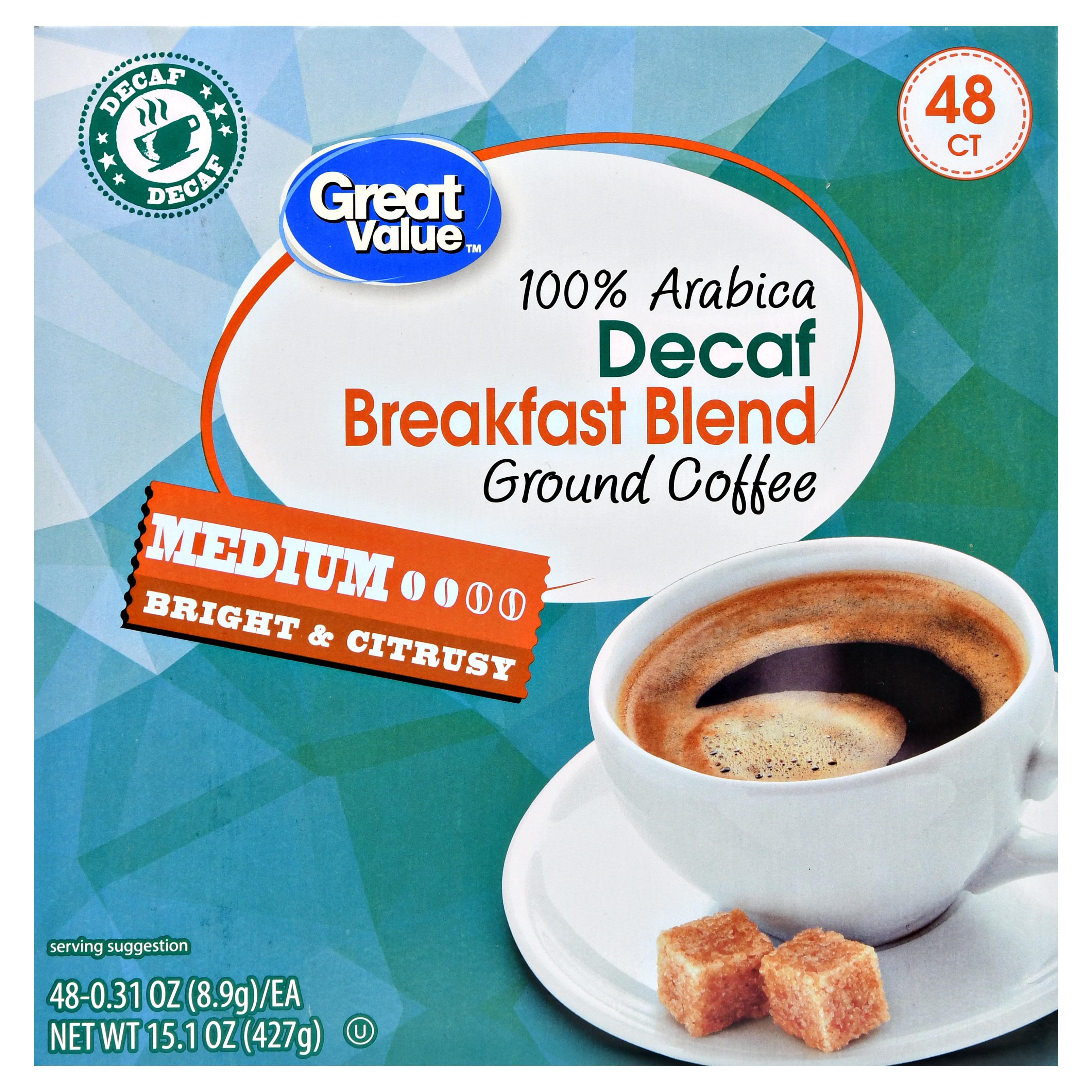 Great Value Decaf Breakfast Blend Ground Coffee Single Serve Cups, Medium Roast, 15.1 oz, 48 Count 14149