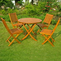 International Caravan Royal Tahiti Hamburg Balau Wood 5 Piece Patio Dining Set