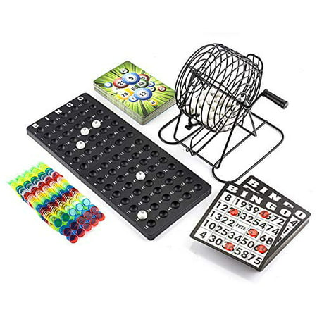 KOVOT Complete Bingo Set | Includes Metal Cage, (75) Numbered Balls, Master Board, (50) Bingo Cards, (400) Color Chips + Bonus Travel Calling Cards](Halloween Bingo Board)