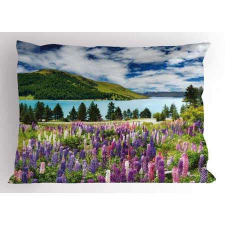 Nature Pillow Sham Floral Mountain Meadow Valley by Lake with Blossom Petals Inspiration Picture, Decorative Standard Queen Size Printed Pillowcase, 30 X 20 Inches, Purple Fern Green, by Ambesonne Bloom Pillow Sham