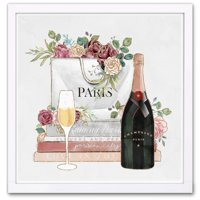 Wynwood Studio 'Shopping and Flowers' Fashion and Glam Framed Wall Art Print - Pink, Green