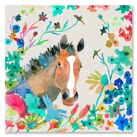 Oopsy Daisy - Canvas Wall Art Woodland Watercolor - Horse 18x18 By Betsy - Watercolor Daisy