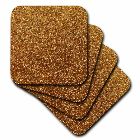 - 3dRose Gold Faux Glitter - photo of glittery texture - glam sparkles sparkly bling - glam stylish girly, Soft Coasters, set of 4