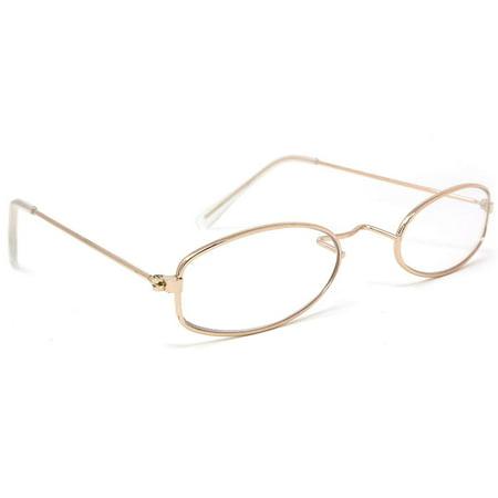 Skeleteen Old Man Costume Glasses - Gold Oval Granny Dress Up Eyeglasses - 1 Pair