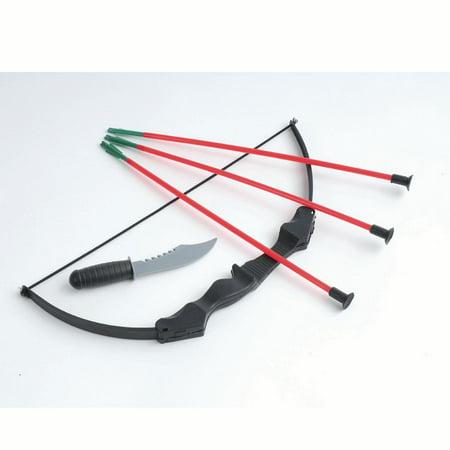 US Toy Ninja Costume Bow and Arrow 5pc Set w Knife, Black Red, - Bow And Arrow Set Halloween