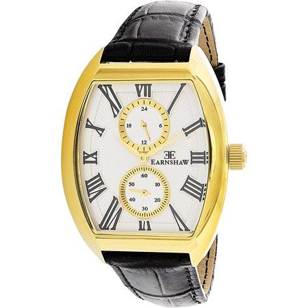 Thomas Earnshaw Mens Holborn Es 8004 Seta 01 Black Leather Analog Quartz Dress Watch