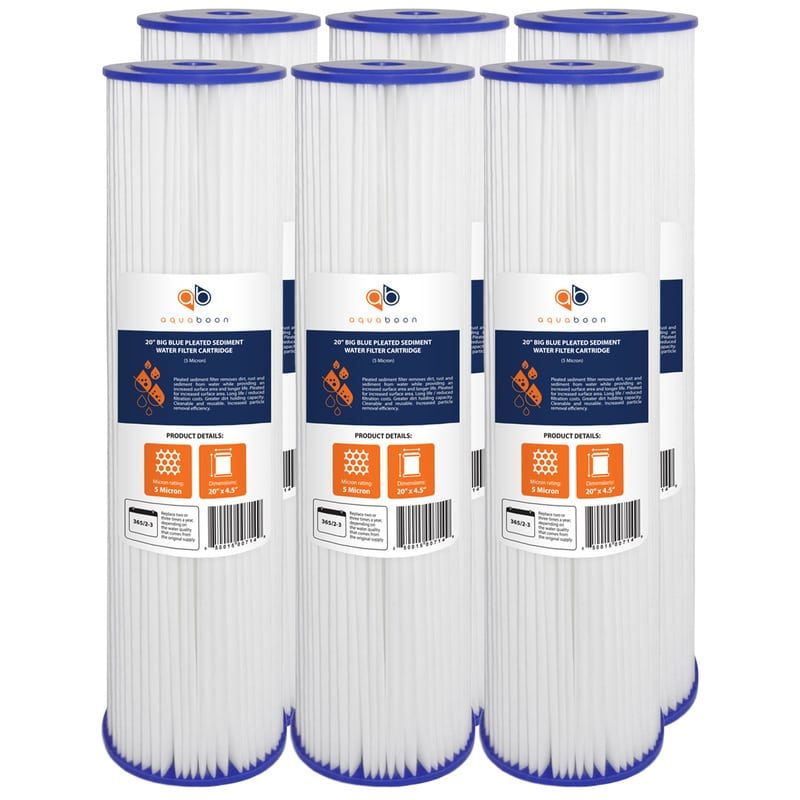 "6PK of Big Blue Whole House 5µm Pleated Washable Sediment Water Filter 20""x4.5"" by Aquaboon"