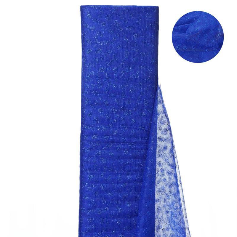 54 inch x 15 yards Glittered Polka Dot Tulle Fabric Bolt - Royal Blue