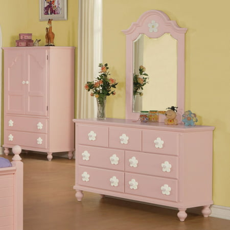 Kids Dresser Mirror (Acme Furniture Floresville Pink and White Flower Kids Dresser with Optional)