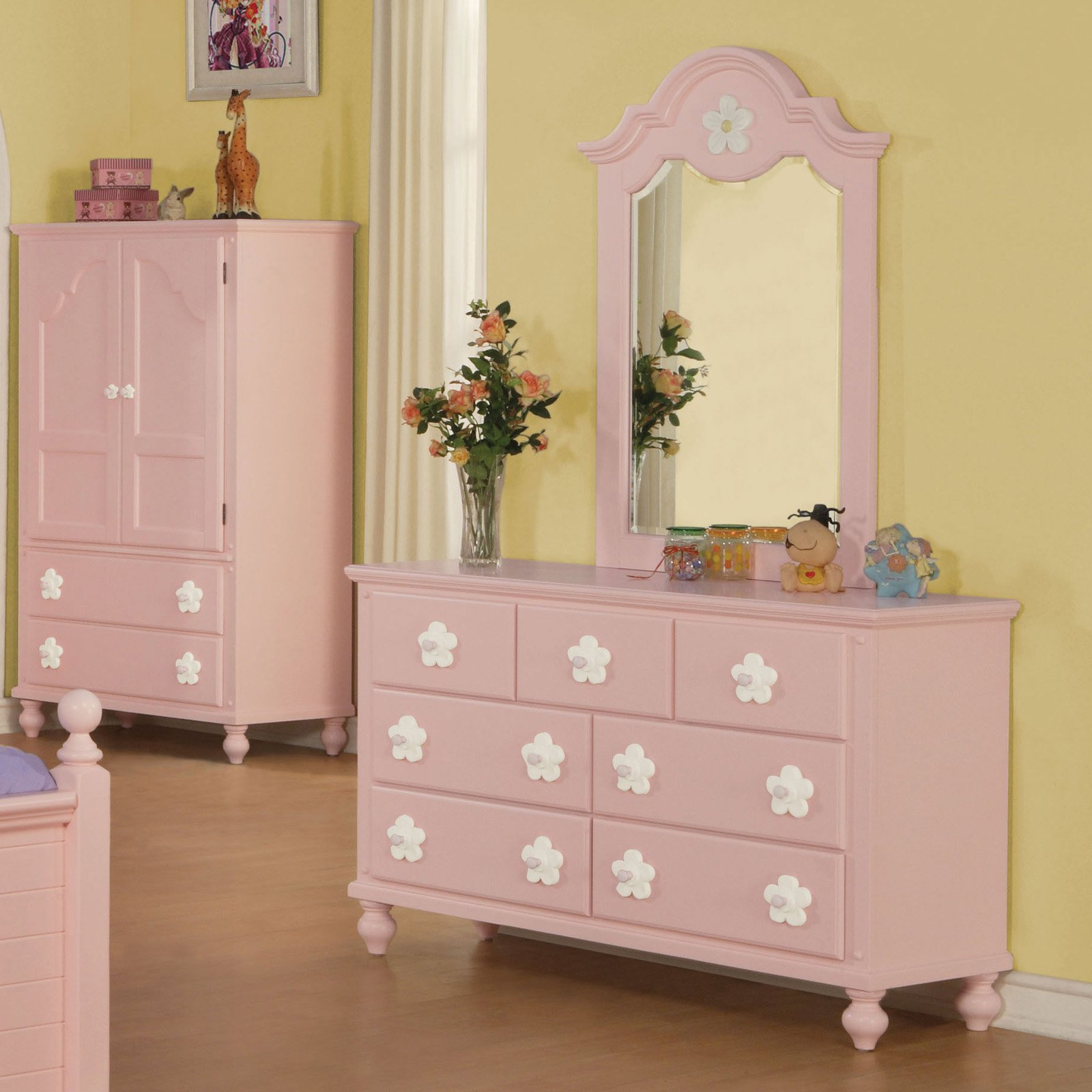 Acme Furniture Floresville Pink and White Flower Kids Dresser with Optional Mirror