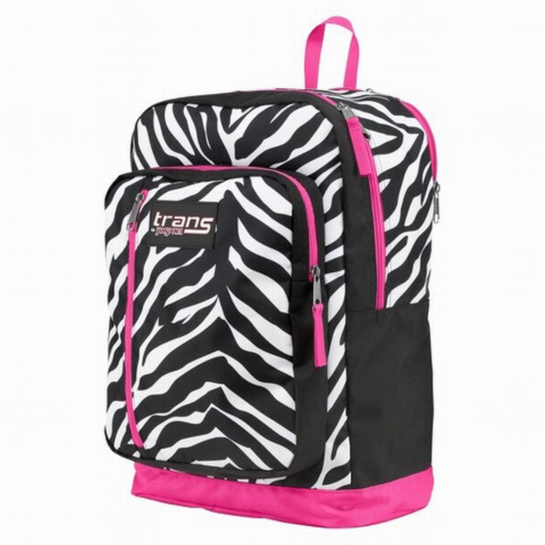 Trans by Jansport Overexposed Megahertz Backpack Zebra Pattern & Hot Pink Accent