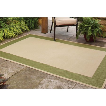 better homes and gardens indoor outdoor green border polyester area rug chocolate 8 39 x 10. Black Bedroom Furniture Sets. Home Design Ideas