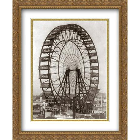 Chicago Ferris Wheel 1893 2x Matted 28x34 Large Gold Ornate Framed Art Print by The Cityscape Art Print Series](Ferris Wheel Centerpiece)
