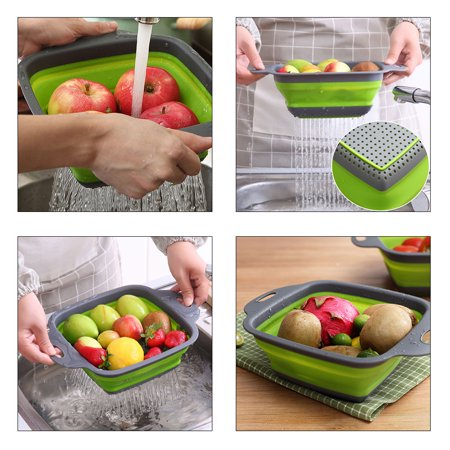 Collapsible Strainer - YXwin Collapsible Colander Foldable Food Strainers 2pcs Heat Resistant Drain Filter Sink Draining Tray Basket Set Practical Home Kitchen Foldable Vegetable Fruit Pasta Veggies Tool (Green)