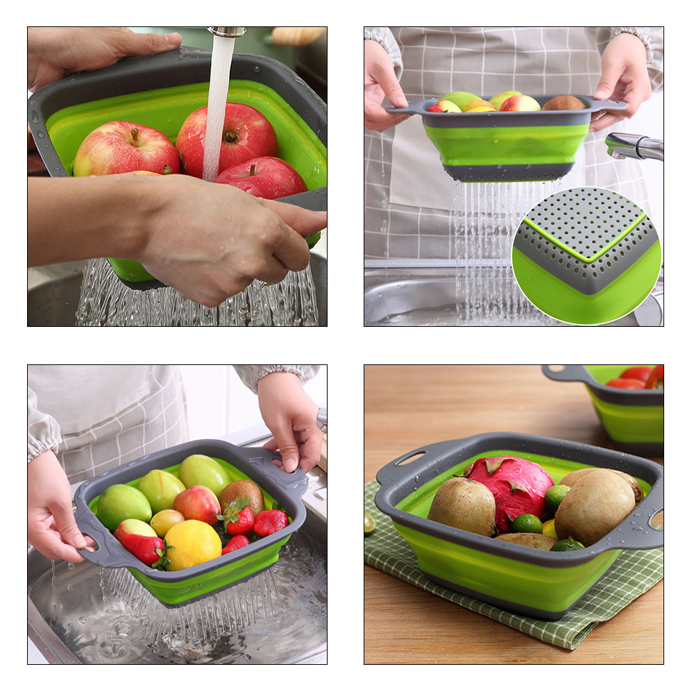 YXwin Collapsible Colander Foldable Food Strainers 2pcs Heat Resistant Drain Filter Sink Draining Tray Basket Set Practical Home Kitchen Foldable Vegetable Fruit Pasta Veggies Tool (Green)