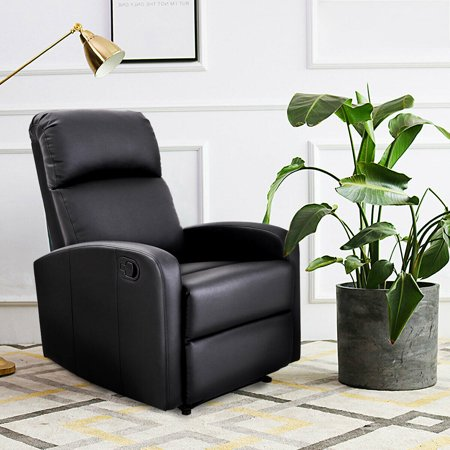 Costway Manual Recliner Chair Lounger PU Leather Sofa Seat Living Room Black - image 6 of 8
