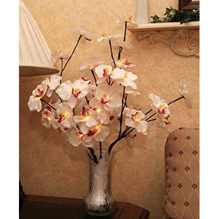 Led Flowers (LED Lighted Orchid Flowers Bouquet Artificial - A/C powered - 40 Inch)