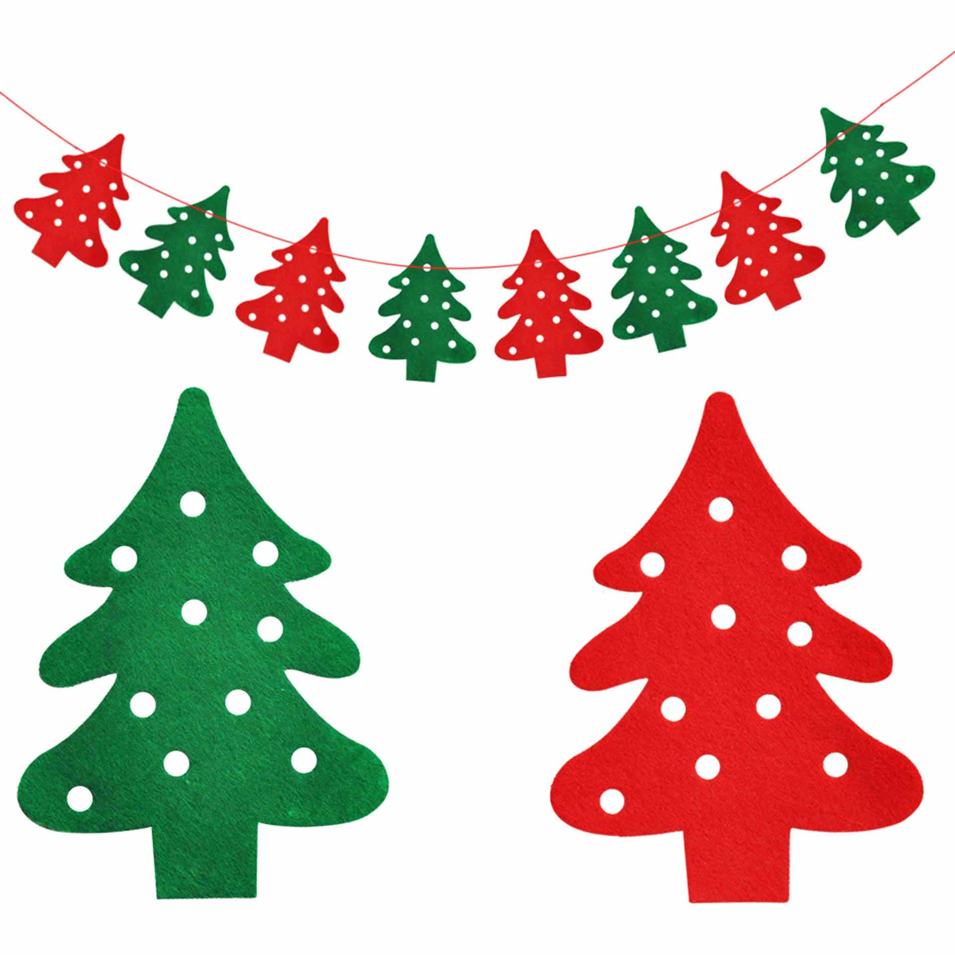 DIY Christmas Tree Bunting Hanging Garland Banner String Party Flag Home Office Holiday Decoration