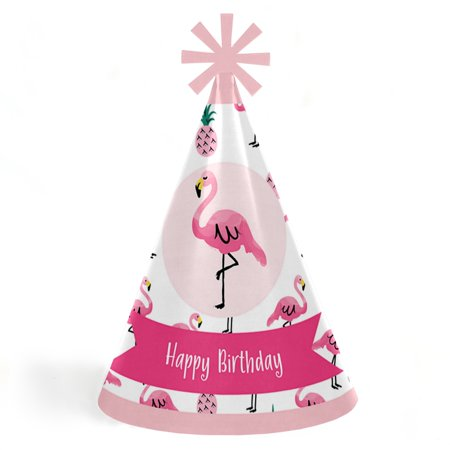 Pink Flamingo - Party Like a Pineapple - Cone Tropical Birthday Party Hats for Kids and Adults -Set of 8 (Standard Size) - Birthday Party Hats For Adults