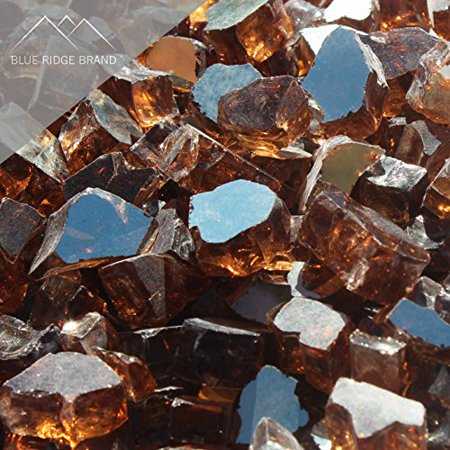 "Fire Pit Glass - Copper Reflective Fire Glass 1/2"" - Reflective Fire Pit Glass Rocks - Blue Ridge Brand™ Reflective Glass for Fireplace and Landscaping 3, 5, 10, 20, 50 Pounds"