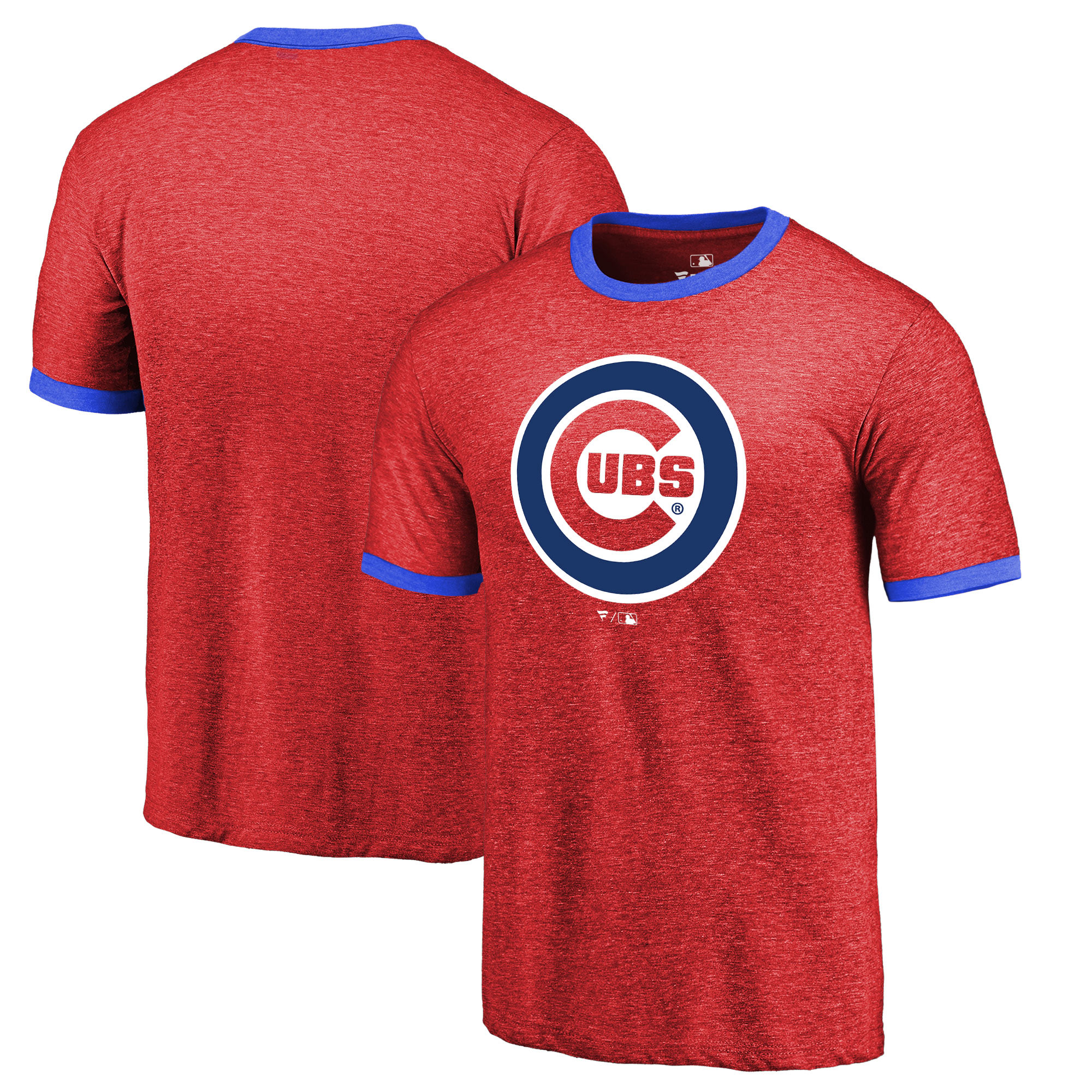 Chicago Cubs Fanatics Branded Refresh Ringer Team Wordmark T-Shirt - Red