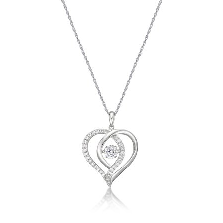 Diamond Open Heart Pendant - Sterling Silver Simulated Diamond Open Heart Dancing Pendant, 18