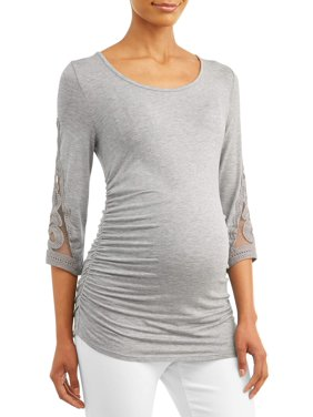 Maternity Concepts Women's Side Ruched Top with Crochet Sleeves (Available in Multiple Colors)