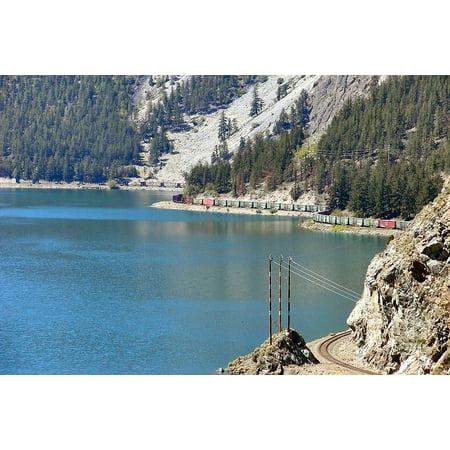 Train Mountain Railroad - Framed Art For Your Wall Landscape Train Lake Railway Mountain Rocks 10x13 Frame
