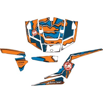 Attack Graphics QUAKE Complete UTV Graphics Kit White/Orange/Voodoo Blue  For Polaris